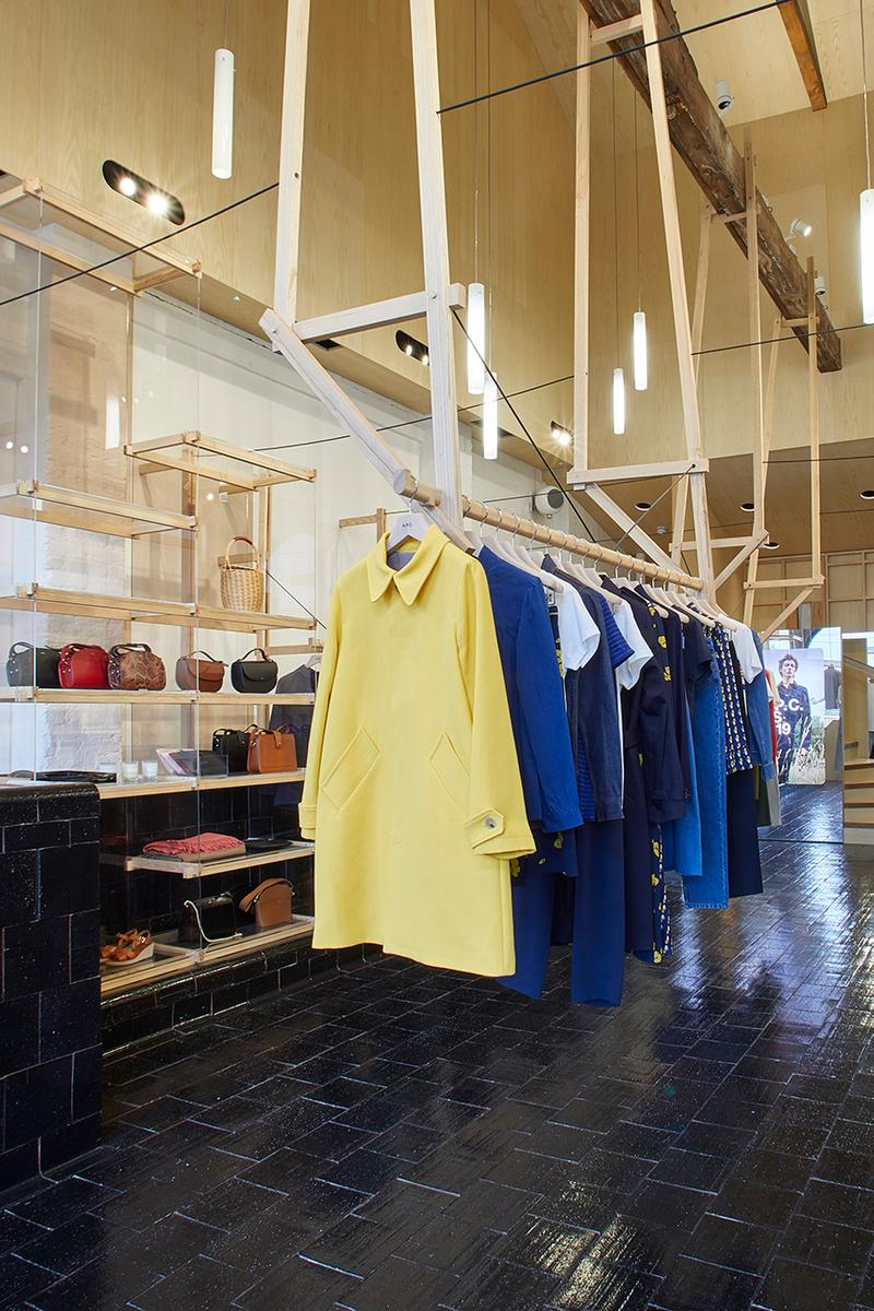 A.P.C. Kings Cross Coal Drops Yard Development New Store Opening Open Now Look Inside First SS19 Collection Parisian Fashion Brand Label Laurent Deroo Architecte