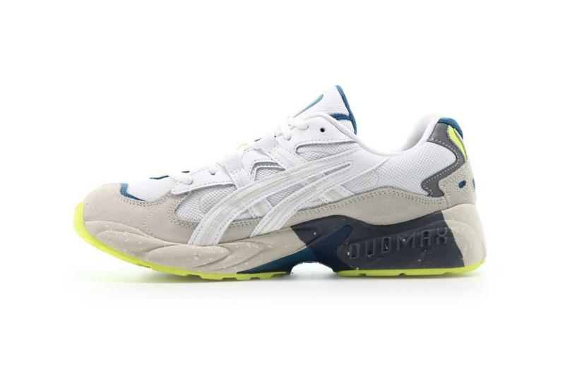 "ASICS GEL-KAYANO 5 OG ""WHITE"" Afew Store Purchase Drop Release Information Cop Now Sneaker Footwear Retro Silhouette Blue Neon Yellow Speckled Sole Unit Tiger Stripes"
