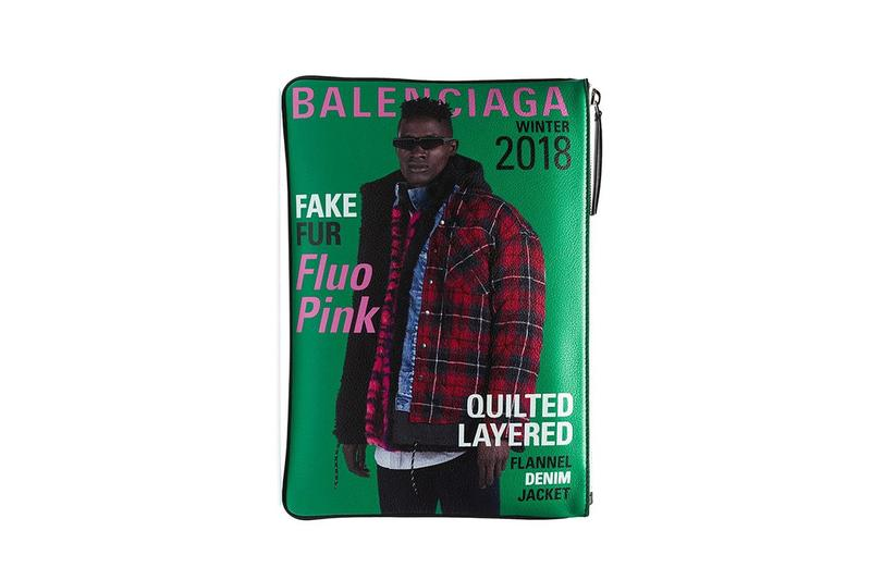 Balenciaga Green Blue Magazine Clutch Bag Demna Gvasalia Spring Summer 2019 SS19 Accessory Item Leather Zip Browns Fashion Menswear