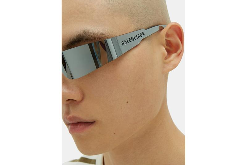 Balenciaga SS19 Spring Summer 2019 Sunglasses MATCHESFASHION.com Logo Engraved square acetate sunglasses curved bright colors mono reflective