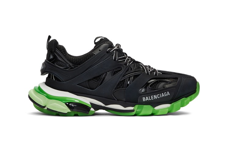 394d92af8 Balenciaga Drops Blacked-Out Track Sneaker With Neon Green Sole Unit ·  Footwear