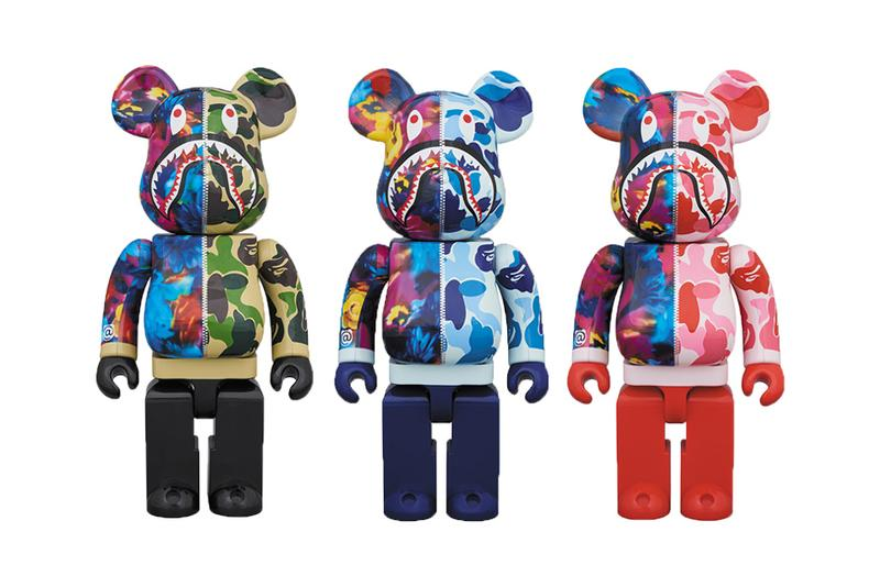 BAPE x M / mika ninagawa Medicom Toy BE@RBRICKS collaboration hoodie shark camouflage floral print pattern release info buy 100 400 1000