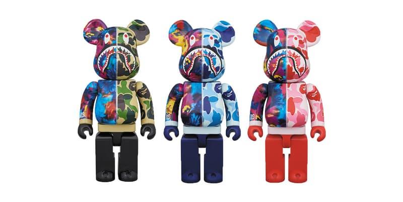 BAPE x M / mika ninagawa Medicom Toy BE@RBRICKS collaboration hoodie shark camouflage floral print pattern release info buy 100 400 1000