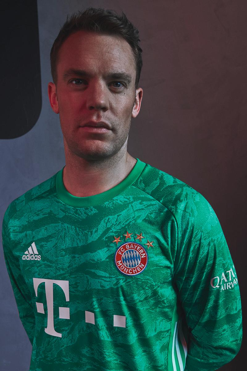 FC Bayern Munich 2019/20 Home Jersey Kit Football soccer david alaba serge gnabry manuel neuer adidas red diamond green goalkeeper tiger camo print design buy cop purchase order first look