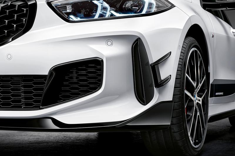 2019 BMW 1 Series M Performance Options parts automotive sports cars racing aerodynamic and exterior components Frozen Black lettering diffuser carbon fibre kidney grille exhaust front splitter spoiler aero flicks BMW M GmbH
