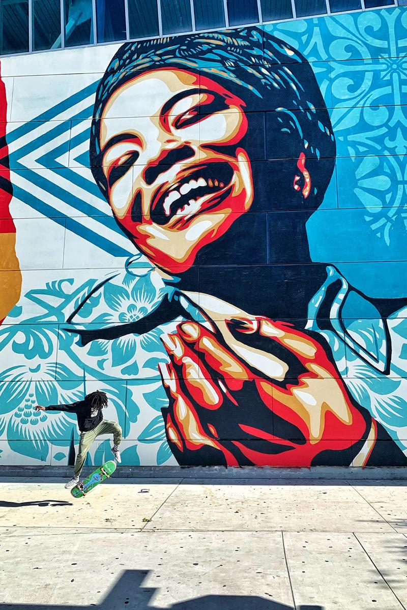 maya angelou community high school mural festival branded arts shepard fairey nasa miguel student artworks art