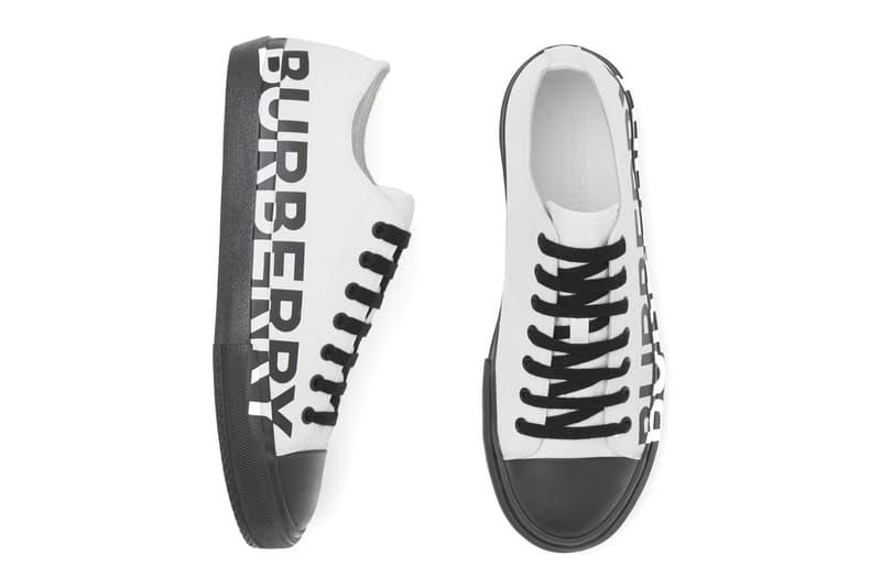 "BURBERRY Logo Print Cotton Gabardine Sneakers ""Blue overdyed"" & ""Optic white/black."""