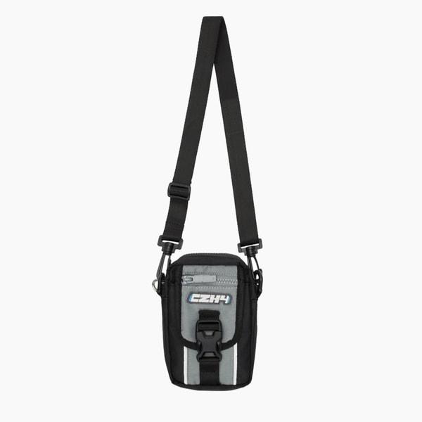 C2H4 Grey & Black Logo Canvas Pouch Bag