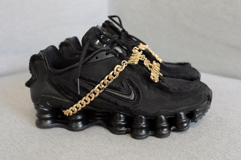 1a725c3dc778dc COMME des GARÇONS x Nike Shox TL Closer Look Black Gold Swoosh Japanese  White Silver Hardware