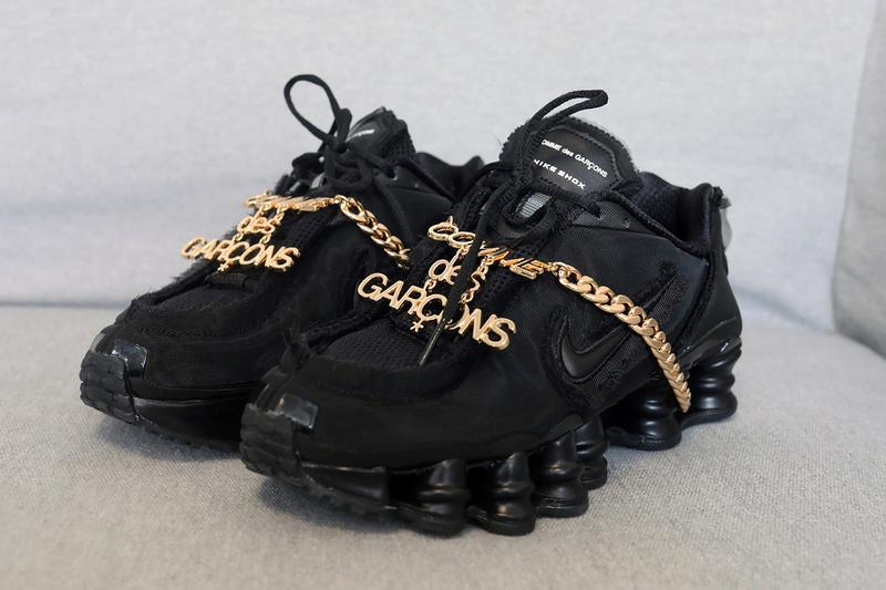 COMME des GARÇONS x Nike Shox TL Closer Look Black Gold Swoosh Japanese White Silver Hardware Chain Footwear Sneaker Release Information