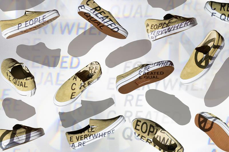 "Commonwealth x Vans Collaborative Capsule Release Info Slip on era embossed outsole drop date info release price details Every Generation Needs A New Revolution"" suede leather ""People Everywhere Are Created Equal"" P.E.A.C.E"