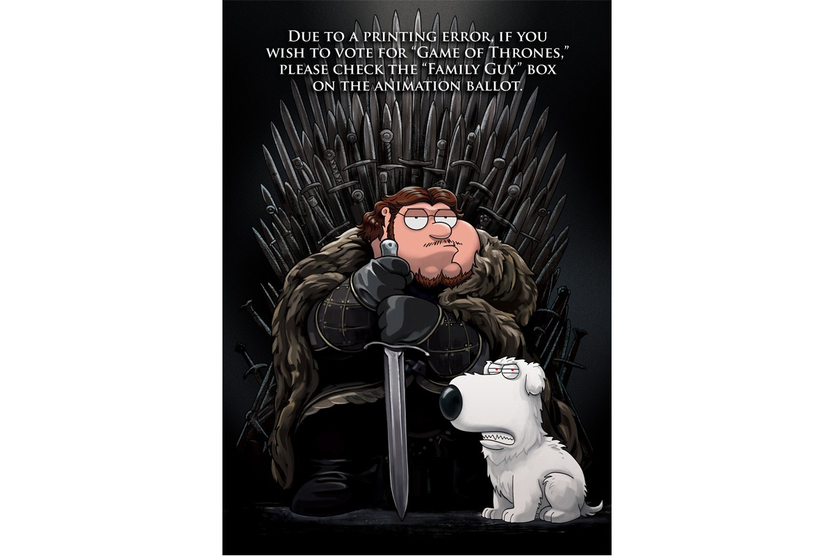 Family Guy Channels Game of Thrones 2019 Emmys Mailer hbo peter griffin jon snow house stark