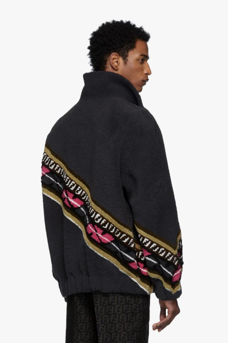 Fendi Reversible Grey & Black Shearling FF Jacket Multi-color monogram pattern grained lambskin leather fw19 coat