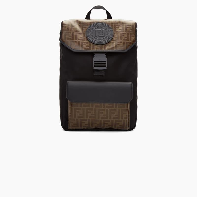 Fendi FF Monogram Black/Brown Leather Backpack