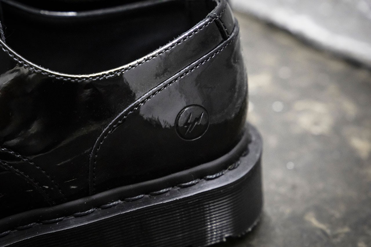 Dr Martens x fragment design Hollingborn Derby Hiroshi Fujiwara Sneaker Footwear Release Patent Leather 1461 Limited Edition Goodhood Raffle Closer Look