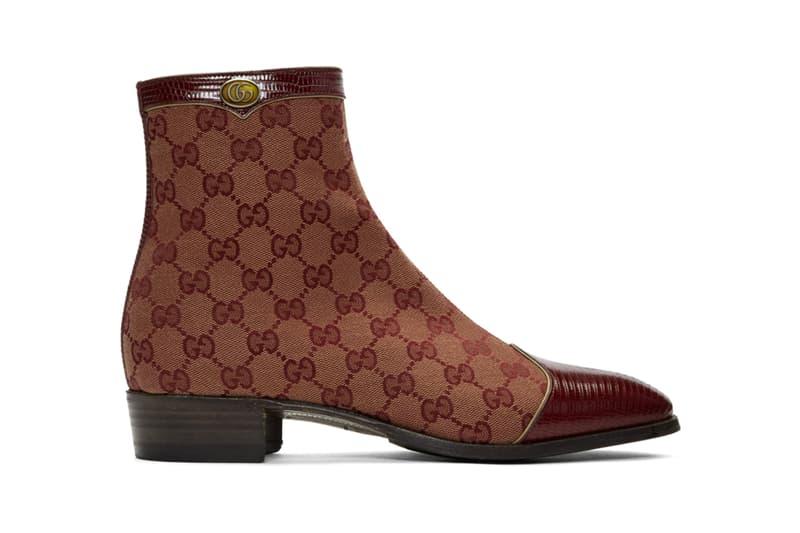 Gucci Canvas Original GG Boots Release Burgundy Lizard Skin Monogram Print