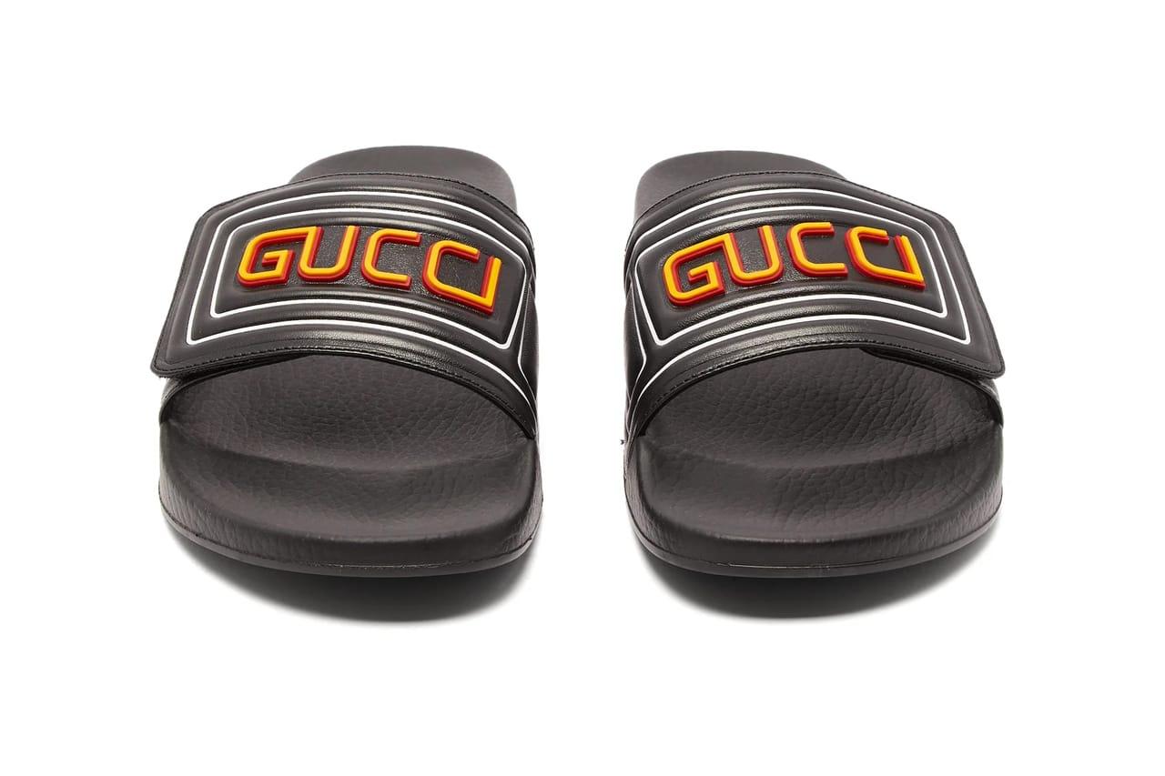 Gucci GG Cut-Out \u0026 Logo Leather Rubber