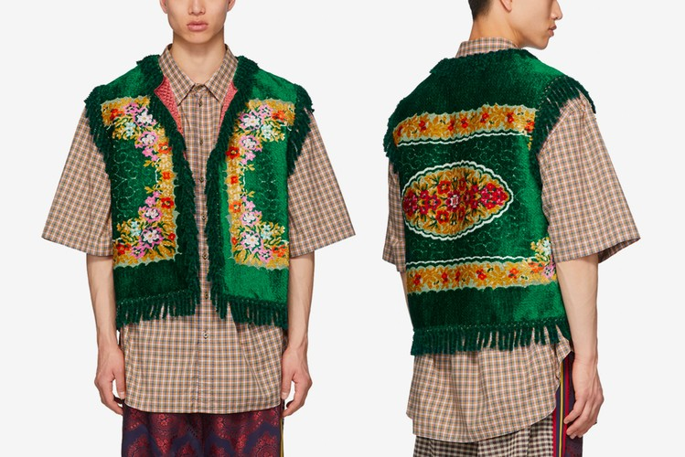 d62bf3edb Gucci's Green Floral Velvet Jacquard Vest Is Straight out of the  Victorian-era
