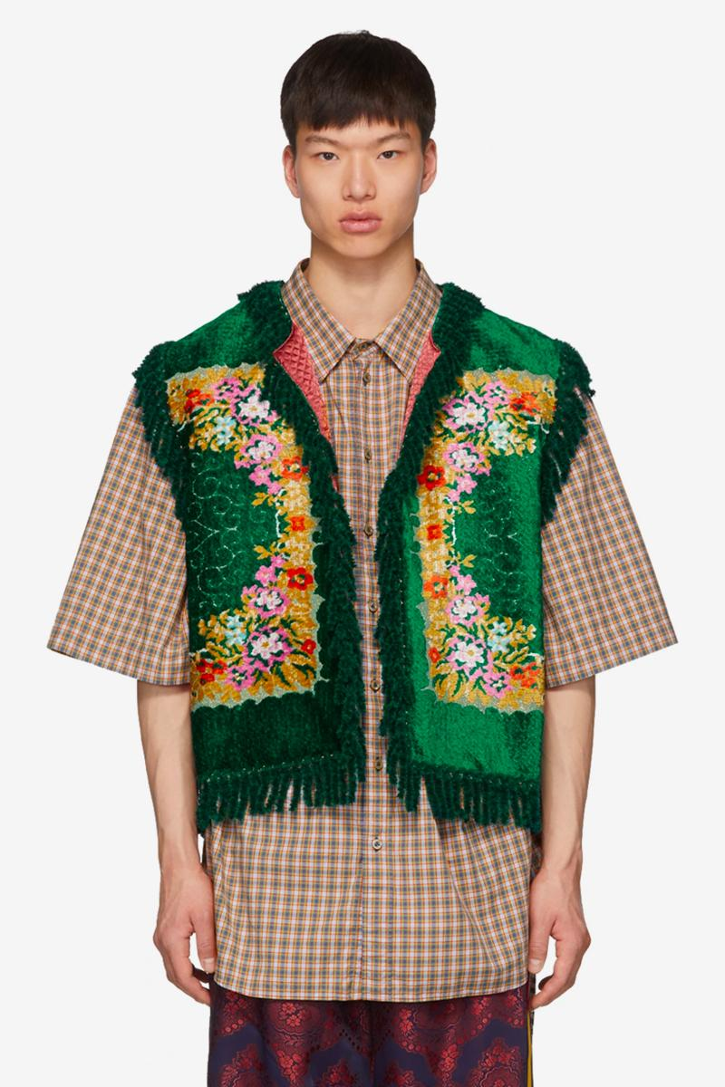 Gucci Green Floral Velvet Jacquard Vest Release Info italian luxury fashion brand vests made in italy ssense price silk drop date grandma clothes