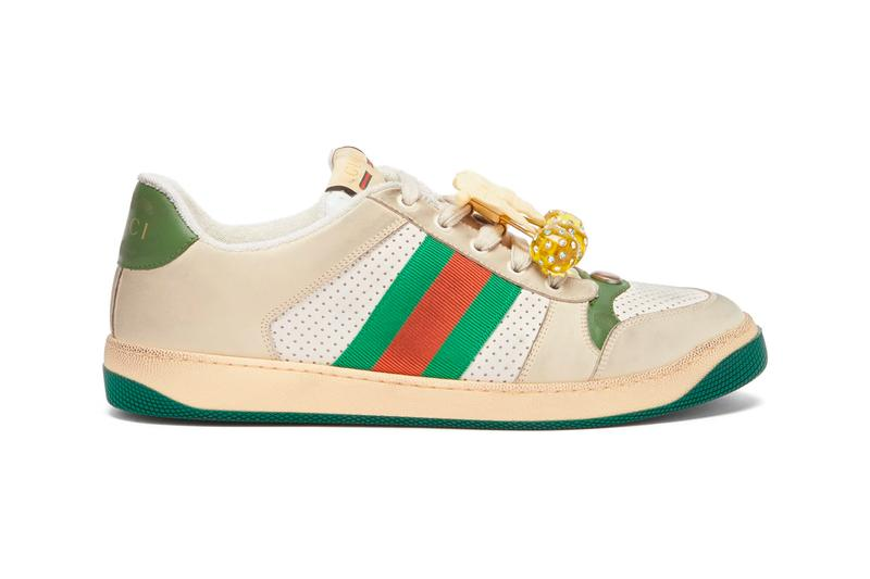 0212c6ac9163 Gucci Cherry-Embellished Screener Trainers Green Red Leather Sneakers where  to buy price release 2019