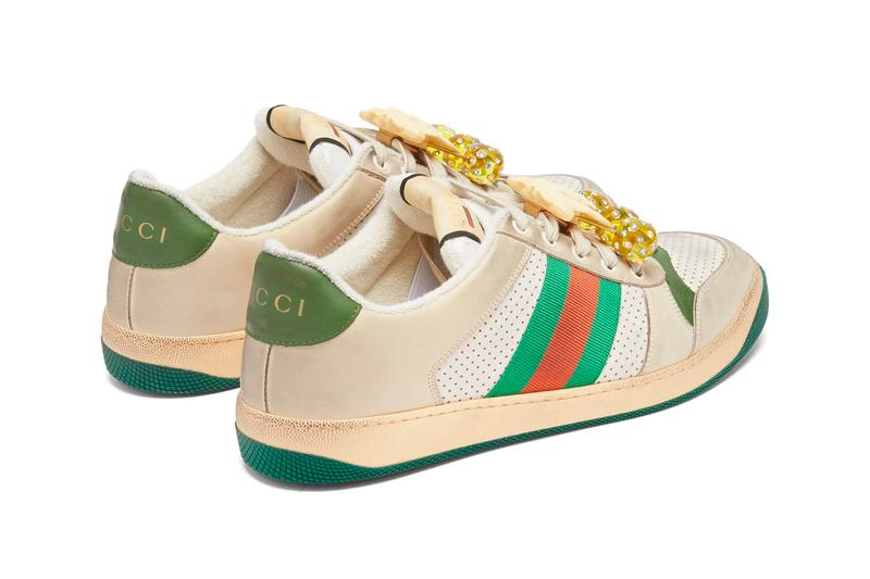Gucci Screener GG Cherry-Embellished Leather Trainers Release Green Red