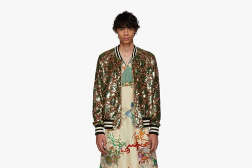 Gucci's Green GG Sequin Bomber Jacket Sees Detailed Lux Embroidery