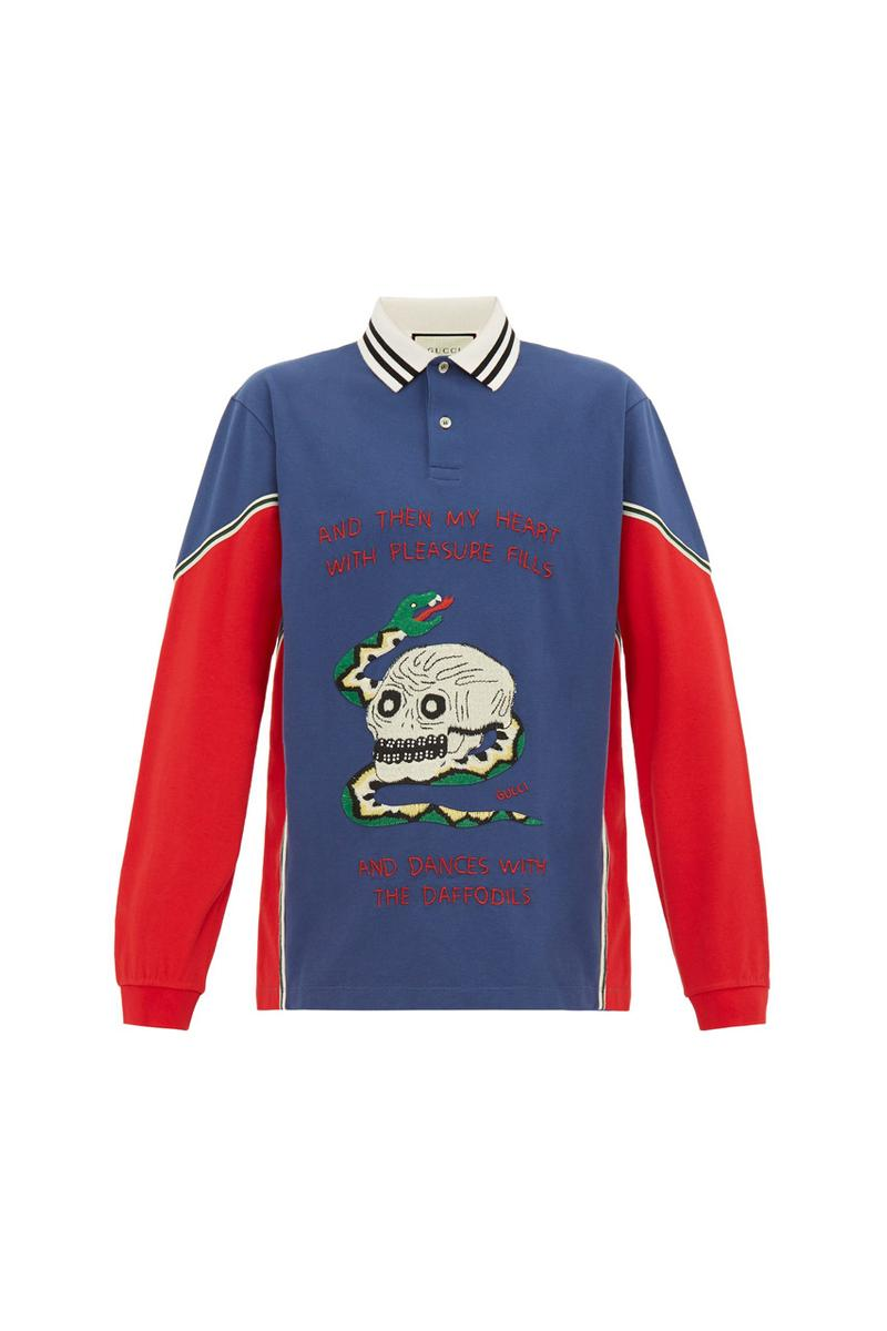 gucci skull snake applique cotton polo shirt spring summer 2019