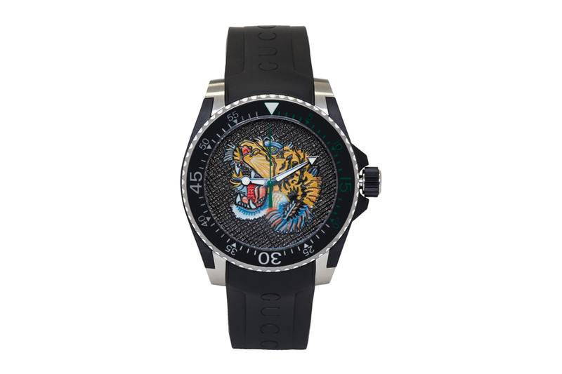 Gucci Tiger Emblazoned Dive Watch Release Info black silver swiss made switzerland ssense timepiece watches