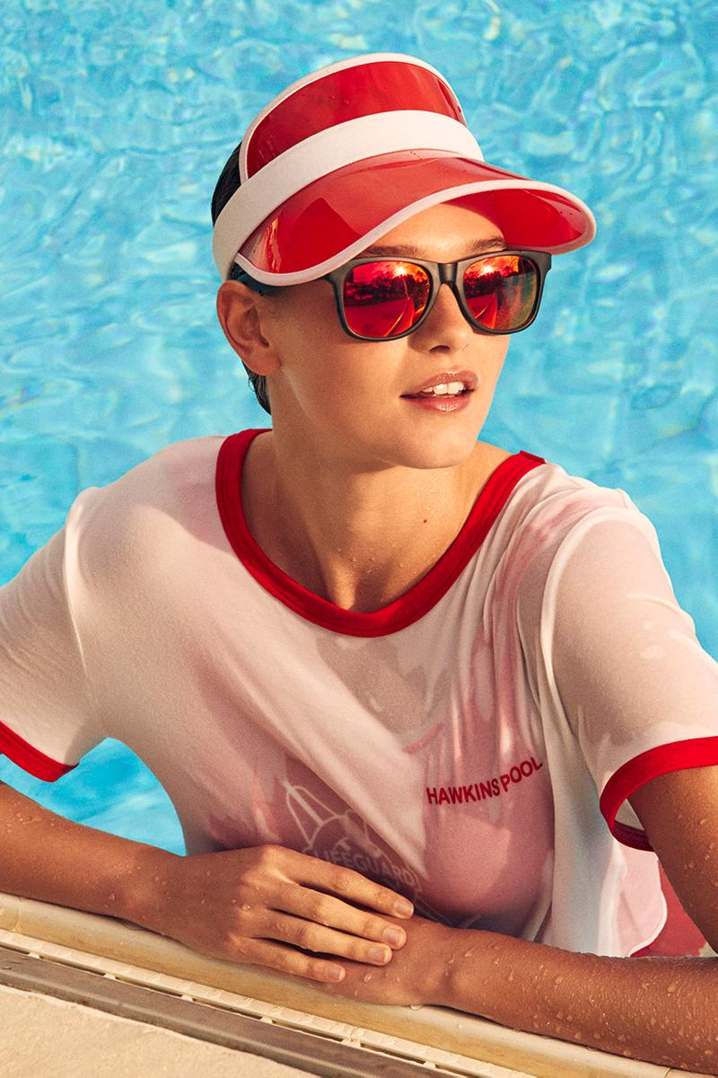 H&M Stranger Things Spring Summer 2019 SS19 Capsule Collection T-Shirts Hawkins Community Pool Swimwear Hats Poolside Accessories Shorts Fictional Netflix Series Dark Mystery Season 3 July 4 Independence Day