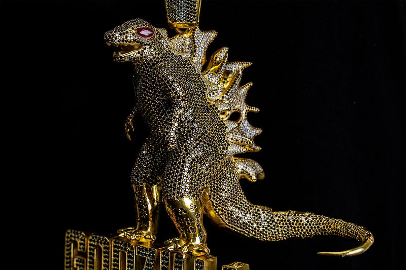 Johnny Dang 'Godzilla: King of the Monsters' Diamond Chain & Pendant bling jewelry iced out warner bros. film movie monsters jewelry gold monster of all chains