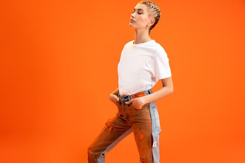 levis heron preston 501 day spring summer 2019 campaign collection release denim jeans hailey baldwin bieber orange tie dye grey black blue