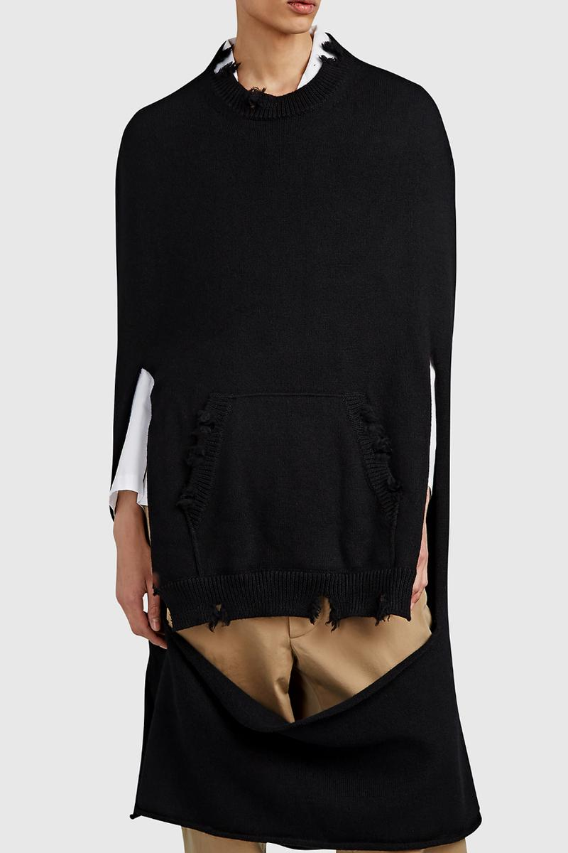 Maison Margiela Turns the Simple Black Sweater Into a Distressed Cape