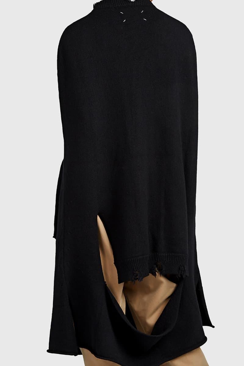 maison margiela distressed wool cape swearer black release spring 2019 barneys