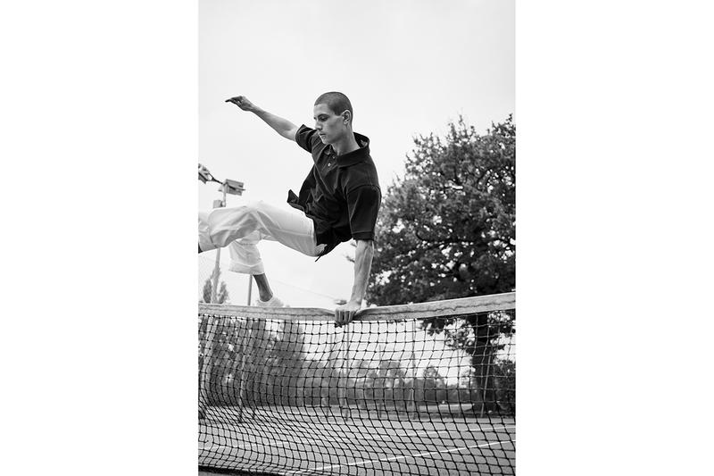 Fred Perry for Margaret Howell Spring Summer 2019 SS19 Capsule Collection Monochrome Archival Tennis Pieces Aesthetic Lookbook M3 Polo Shirt Bomber Jacket Tennis Skirt Laurel Wreath Straight Leg Casual Trouser Cotton Canvas Plimsoles