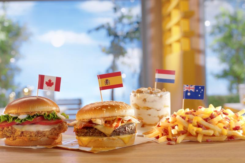 McDonald's International Menu Favorites Announcement Stroopwafel McFlurry Grand McExtreme Bacon Burger Tomato Mozzarella Chicken Sandwich Cheesy Bacon Fries Info Date Release