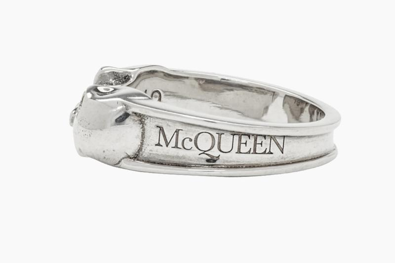 Alexander Mcqueen Silver Twin Skull Thin Ring where to buy price release 2019