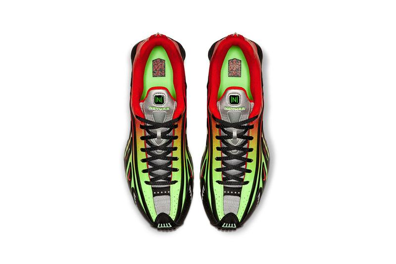 Neymar jr nike shox r4 official look release date white off-white grey silver metallix red black green watermelon sao paulo brazil retro paris saint-germain soccer buy cop purchase nike.com price sizing