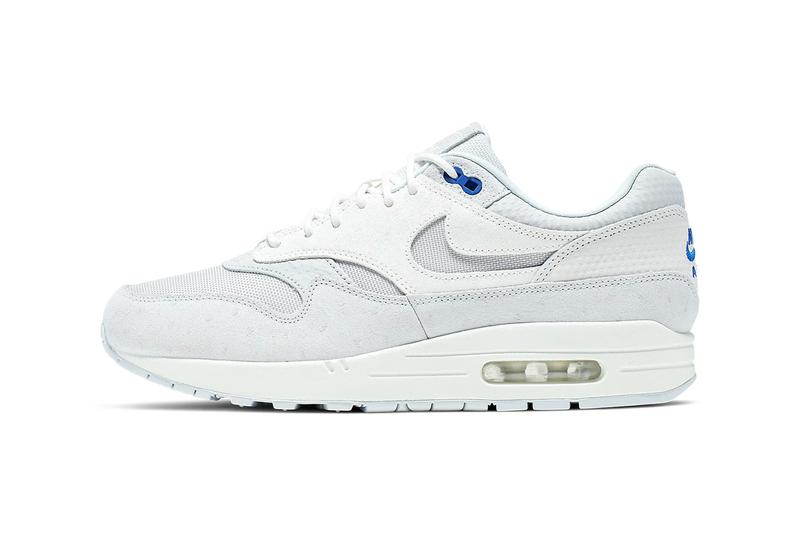 the latest fade8 d7e6a nike air max 1 premium cut out swoosh design white silver racer blue colorway  release date