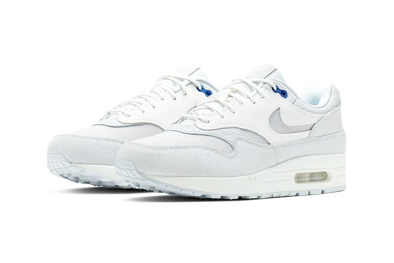 hot sale online 8cfc0 355c3 nike air max 1 premium cut out swoosh design white silver racer blue  colorway release date