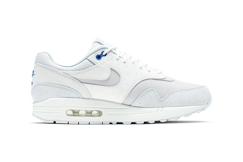 817330b3e8 nike air max 1 premium cut out swoosh design white silver racer blue  colorway release date