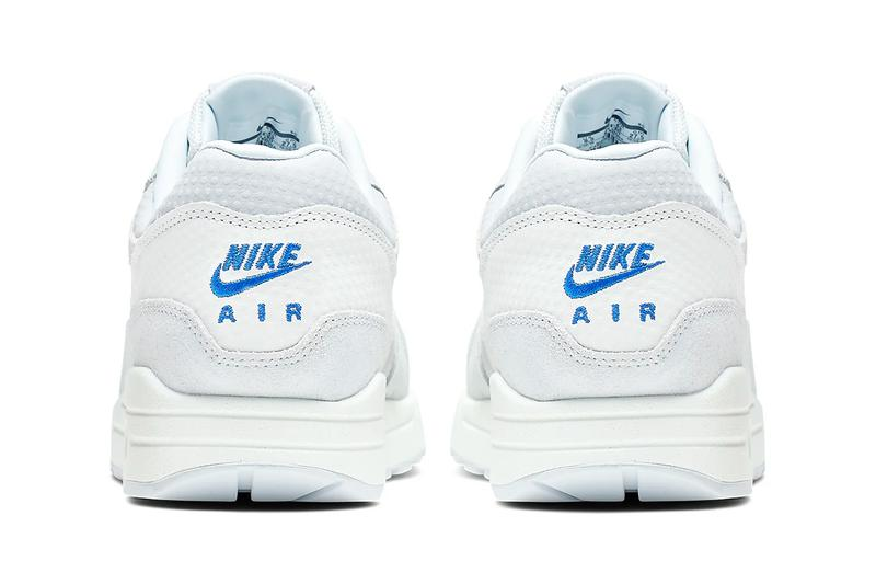 nike air max 1 premium cut out swoosh design white silver racer blue colorway release date 875844-011