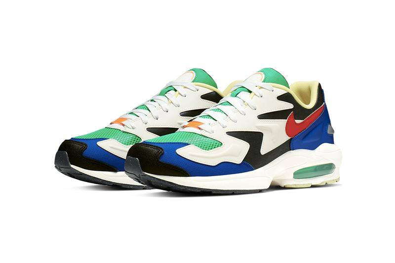 "Nike Air Max 2 Light ""Habanero Red/Armory Navy"" and Dark Obsidian/Sail swoosh sneakers red air sole unit"