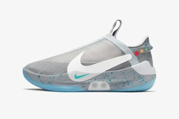 Picture of Nike's Auto-Lacing HyperAdapt Surfaces in MAG Colorway for the Basketball Court