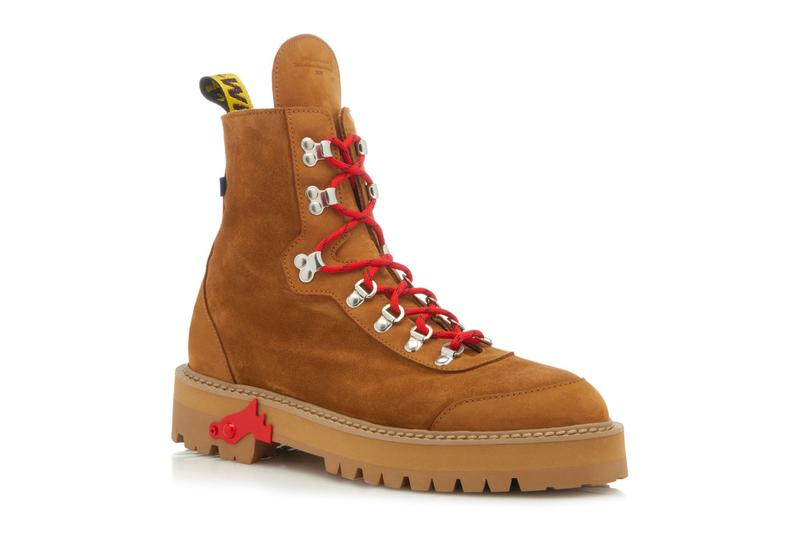 Off White Brown Suede Hiking Boots Release Virgil Abloh red yellow industrial strap