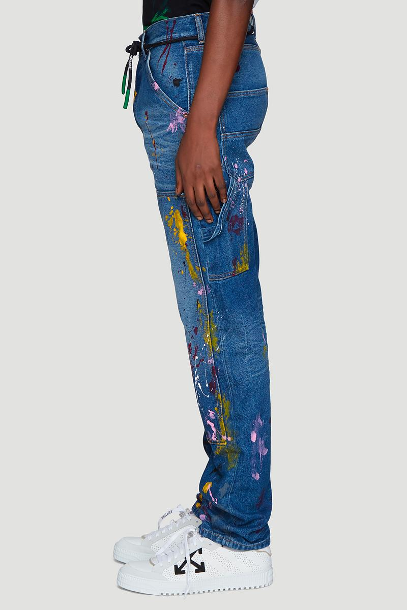 Off White Carpenter Splatter Jeans Release Blue Virgil Abloh LN-CC spring summer 2019 ss19 buy price cost blue straight leg denim info details