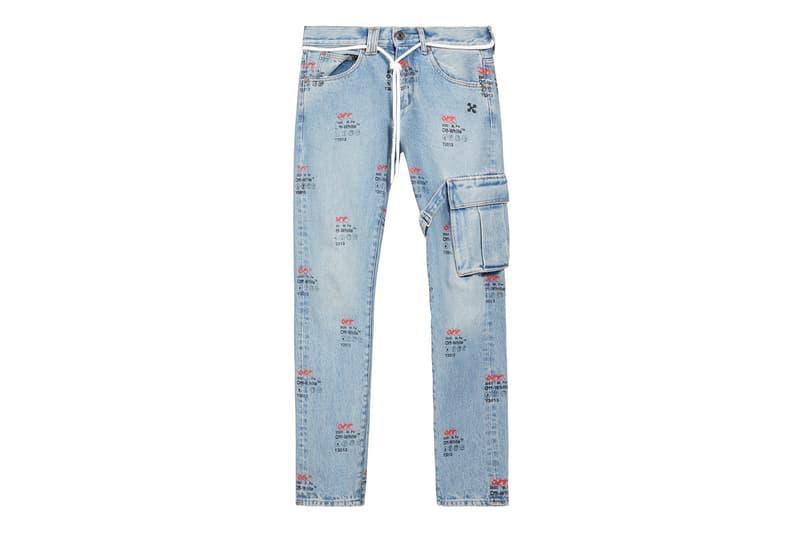 Off-White Logo Print Tie Waist Jeans Release virgil abloh jeans denim logos faded retro vintage louis vuitton