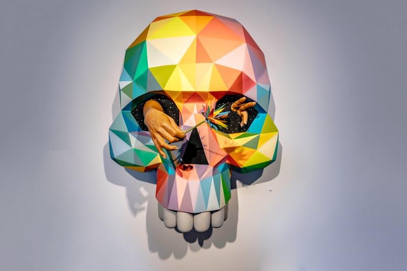 okuda san miguel metamorphosis heron arts exhibition paintings sculptures