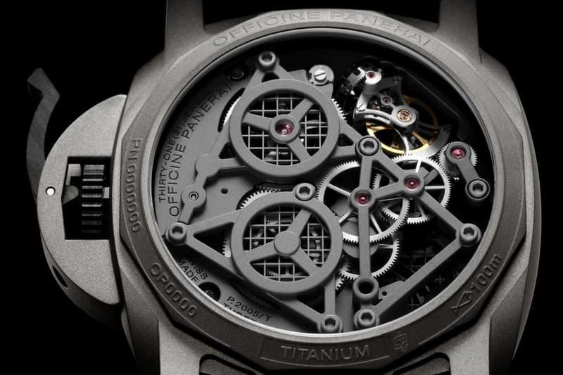 Panerai Unveils Luxurious Lo Scienziato Luminor Tourbillon GMT PAM00768 Timepiece watch wrist accessories italian watchmaker manufacturer limited availability titanium construction green grey gun mental