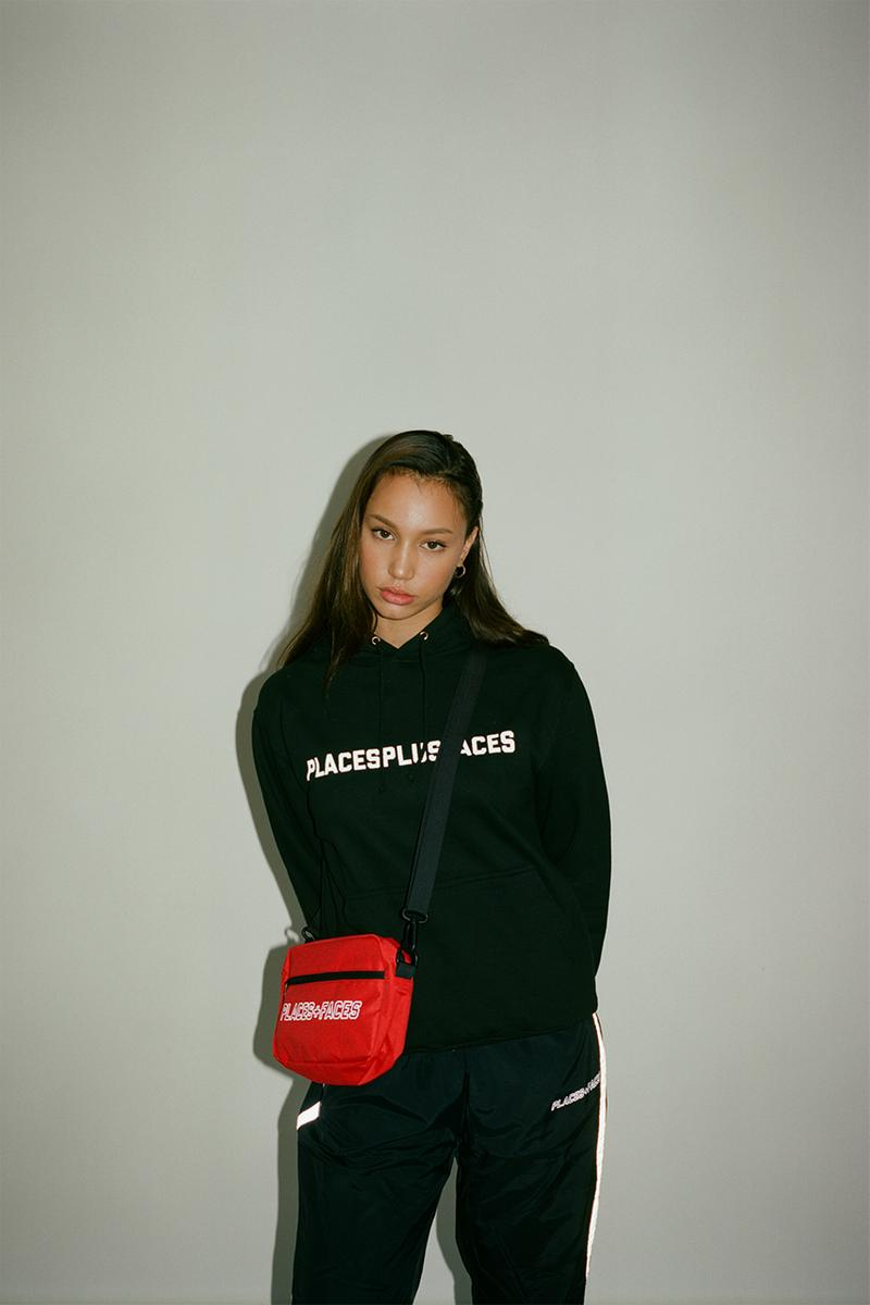 Places + Faces Reflective Spring Summer 2019 SS19 Lookbook Drop Release Capsule Collection Bags Pouches Text Nylon Tracksuit T-Shirt Hoodies Crop Tops