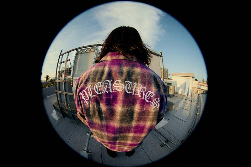 PLEASURES Summer 2019 Collection Alex James Vibrant Panic Los Angeles streetwear fish-eye lens lookbook